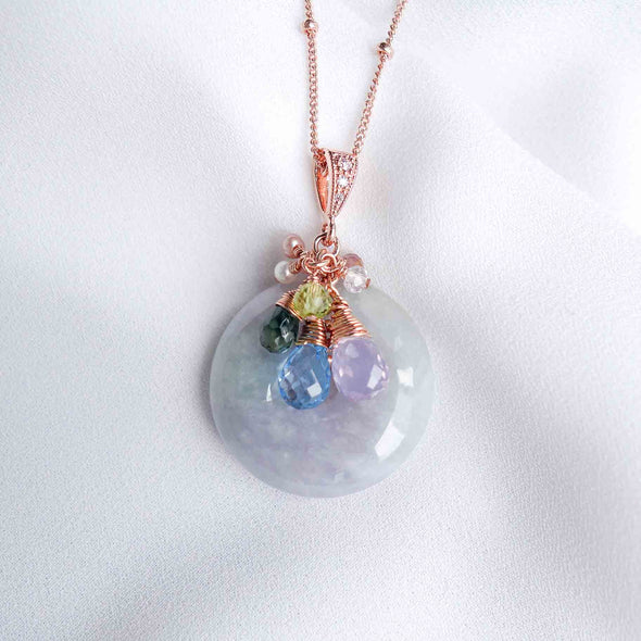 Lavender Jade Necklace with Blue Gem Cluster - Rose Gold Filled Ball Chain