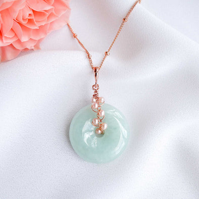 Light Green Jade with Pink Pearl Vine Necklace