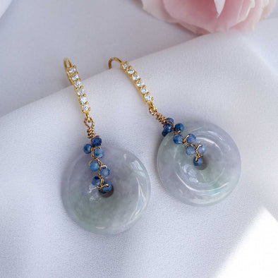 Lavender Jade Hook Earrings with Kyanite Vine