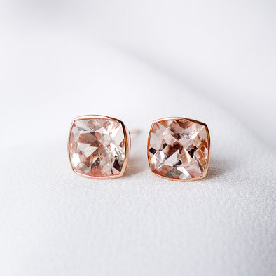 Cushion Morganite Ear Studs - 18K Rose Gold MBES607R