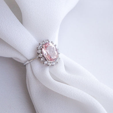 Morganite Halo Ring - 14K White Gold MHR519W