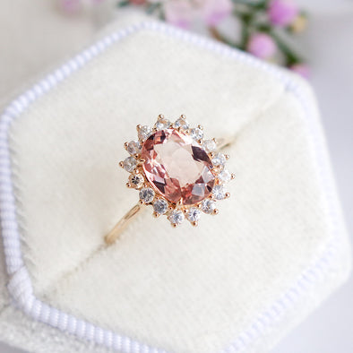 Morganite Halo Ring - 14K Yellow Gold MHR520Y