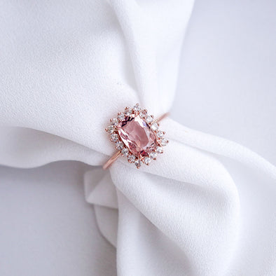 Morganite Halo Ring - 14K Rose Gold MHR523R