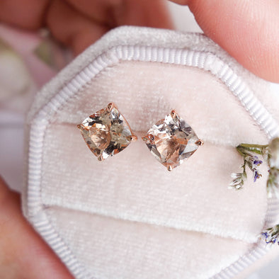 Square Morganite Ear Studs - 18K Rose Gold MSES3R06