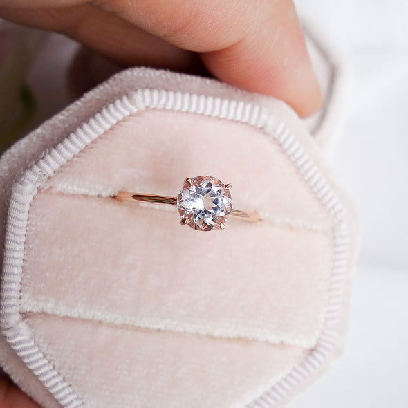 Round Morganite Solitaire Ring - 14K Rose Gold MSR2R96