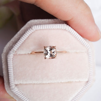 Square Morganite Solitaire Ring - 14K Rose Gold MSR2R97
