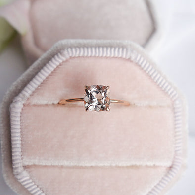 Square Morganite Solitaire Ring - 14K Rose Gold MSR2R98