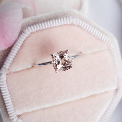 Square Morganite Solitaire Ring - 14K White Gold MSR2W88