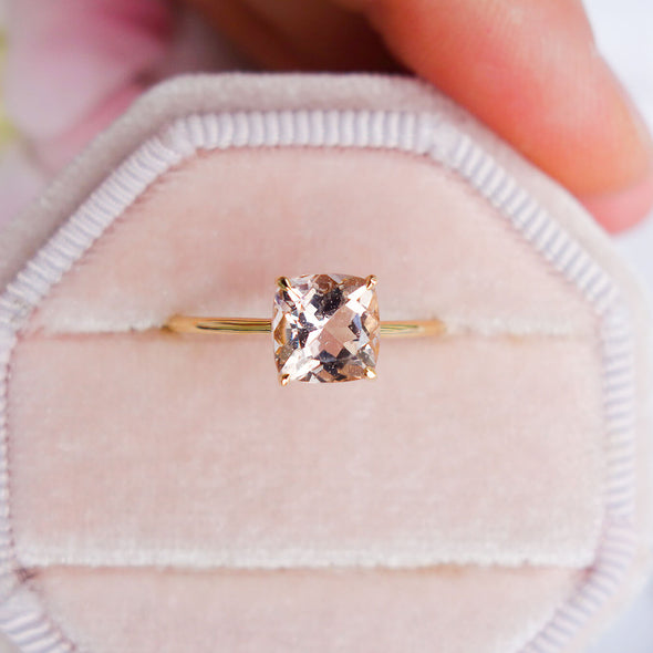 Square Morganite Solitaire Ring - 14K Yellow Gold MSR2Y92