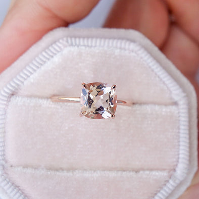 Square Morganite Solitaire Ring - 14K Rose Gold MSR3R62