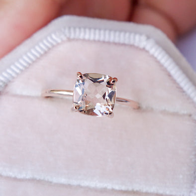Square Morganite Solitaire Ring - 14K Rose Gold MSR3R63