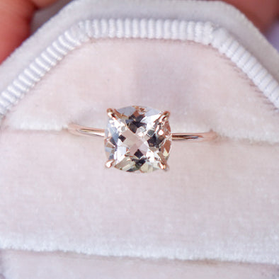 Square Morganite Solitaire Ring - 14K Rose Gold MSR3R64