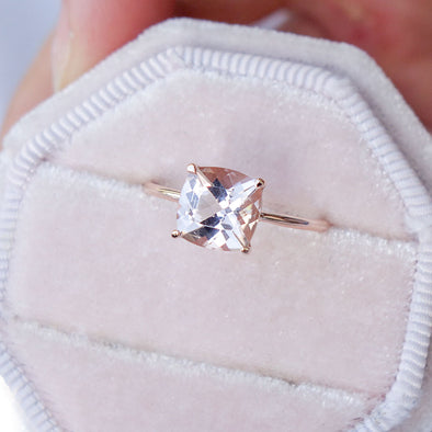 Square Morganite Solitaire Ring - 14K Rose Gold MSR3R65