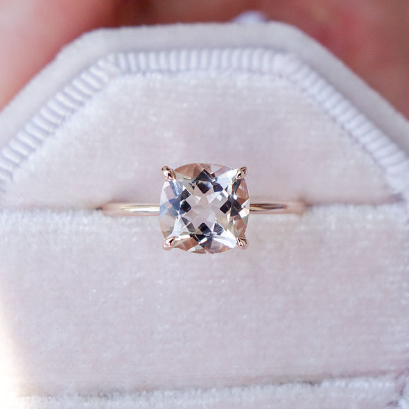 Square Morganite Solitaire Ring - 14K Rose Gold MSR3R66