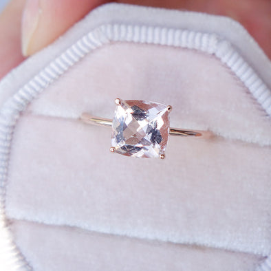 Square Morganite Solitaire Ring - 14K Rose Gold MSR3R67