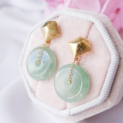 Jade with Kite Ear Studs MU13