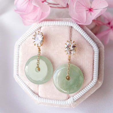 Jade with Oval CZ Ear Studs MU3