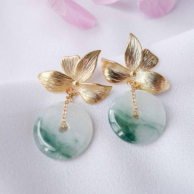 Jade with Four Petal Ear Studs MU5