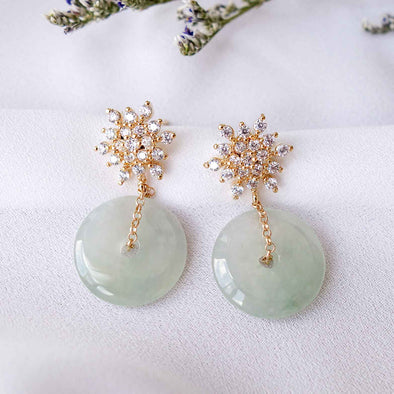 Jade with Snow Ear Studs MU8