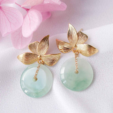Jade with Four Petal Ear Studs MU9
