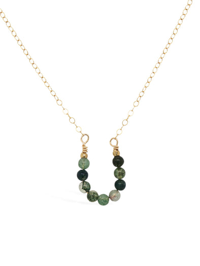 Lucky Horseshoe Necklace - Moss Agate
