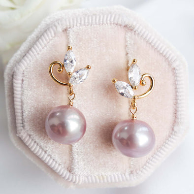 Swirling Leaf Ear Studs with Petite Pearls OP13
