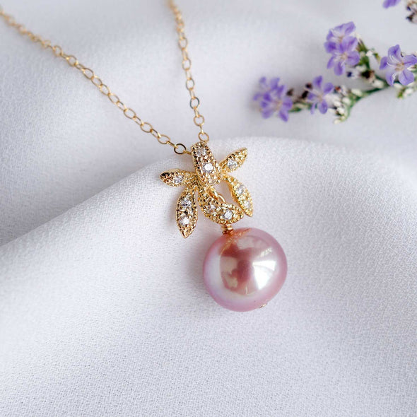 Petite Pearl with Orchid Pendant Necklace OP38