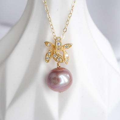 Petite Pearl with Orchid Pendant Necklace OP39