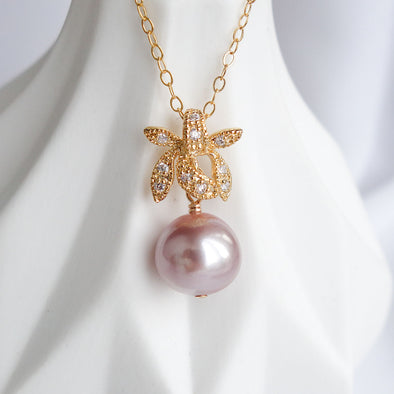 Petite Pearl with Orchid Pendant Necklace OP40