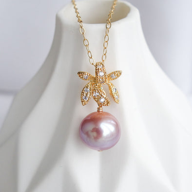 Petite Pearl with Orchid Pendant Necklace OP41