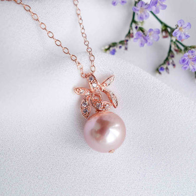 Petite Pearl with Orchid Pendant Necklace OP44