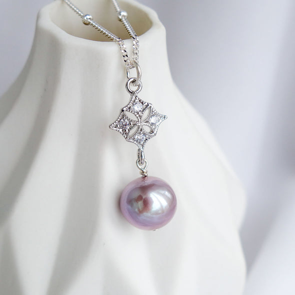 Petite Pearl with Intricate Pendant Necklace OP49