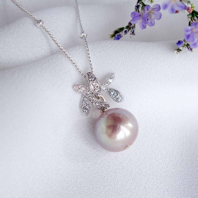 Petite Pearl with Orchid Pendant Necklace OP50