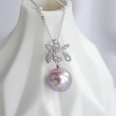 Petite Pearl with Orchid Pendant Necklace OP51