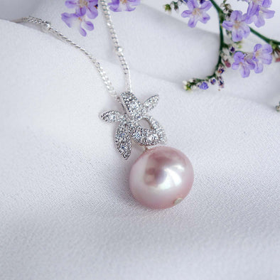 Petite Pearl with Orchid Pendant Necklace OP52
