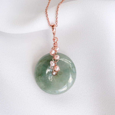 Olive Green Jade with Pink Pearl Vine Necklace 2