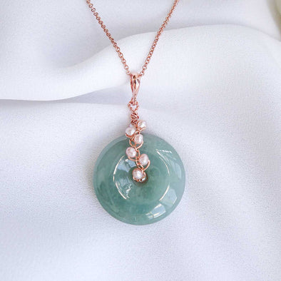 Olive Green Jade with Pink Pearl Vine Necklace 3