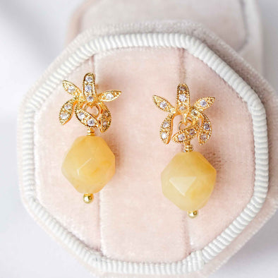 Faceted Golden Jade with Orchid Ear Studs
