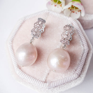 Blush Baroque Pearls with Intricate Ear Hoops - Silver