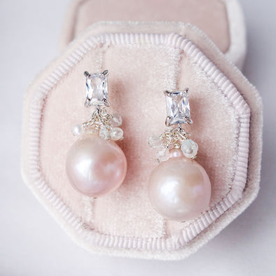 Blush Baroque Pearls with Baguette Ear Studs and Gem Cluster - Silver