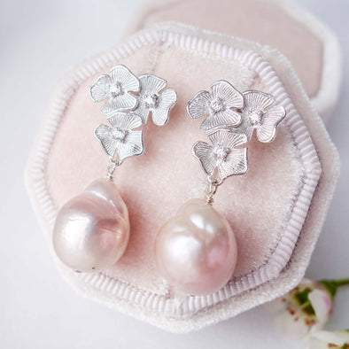 Blush Baroque Pearls with Triple Flower Ear Studs - Silver