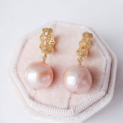 Blush Baroque Pearls with Intricate Ear Hoops - Gold