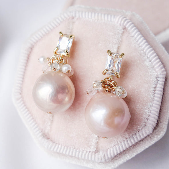 Blush Baroque Pearls with Baguette Ear Studs and Gem Cluster - Gold