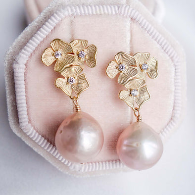 Blush Baroque Pearls with Triple Flower Ear Studs - Gold