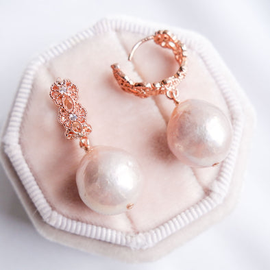 Blush Baroque Pearls with Intricate Ear Hoops