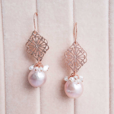 Blush Baroque Pearls with Curved Peranakan Tile and Gem Cluster