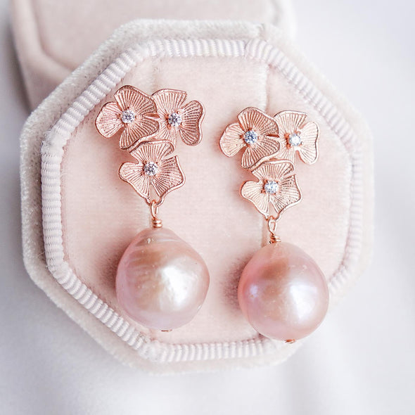 Blush Baroque Pearls with Triple Flower Ear Studs