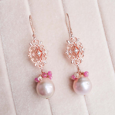 Blush Baroque Pearl Earrings with Intricate Tile and Sapphire Cluster