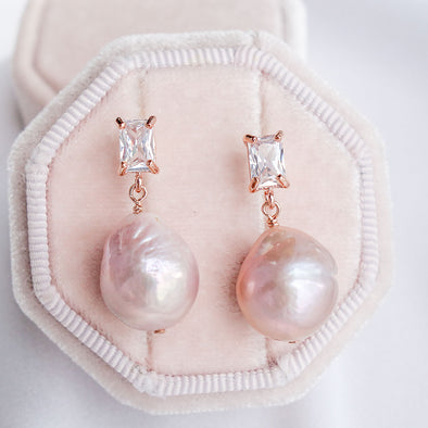 Blush Baroque Pearls with Baguette Ear Studs
