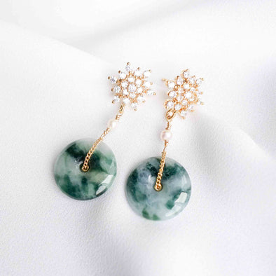 Unique Jade with Snow Ear Studs PJ12G